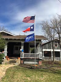This photo from Kimberly Loyd's Facebook page shows a Trump flag waving in the wind underneath U.S. and Texas flags. ((KIMBERLY LOYD))