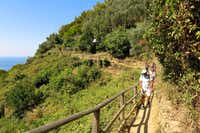 Hikers walk along a narrow section of trail between Monterosso and Vernazza. It's one of the busiest paths in Italy's Cinque Terre National Park.(Amy Laughinghouse)