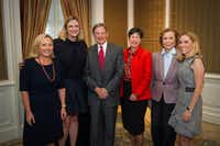 Guests at the Tocqueville luncheon Wednesday at the Crescent Hotel included (left to right) Carolyn Perot Rathjen, Jennifer Sampson, Forrest Hoglund, Lyda Hill, Ruth Altshuler and Nicole Small.(United Way)