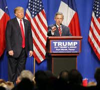 Robert Jeffress, pastor of First Baptist Church in Dallas, speaks at a Trump rally in Fort Worth in February.(Tom Fox/Staff Photographer)