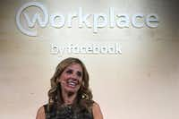 "Nicola Mendelsohn, a Facebook vice president, speaks at the launch of the social media company's latest product ""Workplace"" in central London.(AFP/Getty Images)"