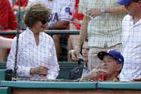 Former President George W. Bush and wife Laura attended Game 1 of the American League Division Series between the Toronto Blue Jays and the Texas Rangers last week at Globe Life Park in Arlington. (Ronald Martinez/Getty Images)