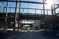 Construction continues at Memorial High School in Frisco ISD.(G.J. McCarthy/Staff Photographer)