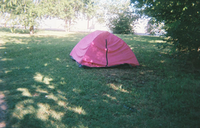 A homeless woman named Yolanda took this photo of someone's tent.<br> The Human Impact<br>