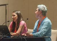 """Rachel Farnsworth (left) and Ashlee Marie Prisbrey spoke at a panel discussion, """"How to Create Great Videos When You're a One-Woman Show,"""" at #BlogHerFood16.(SheKnows Media)"""