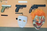 A photo of evidence, including BB guns and masks, obtained by authorities in connection with a home burglary in Gainesville this week. (<p>(Gainesville Police Department)</p>)