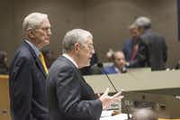 Walt Humann (left), CEO of the Fair Park Texas Foundation, and Willis Winters, director of the Dallas Park and Recreation department, briefed the City Council about the foundation's plan in August.(Rex C. Curry/Staff Photographer)