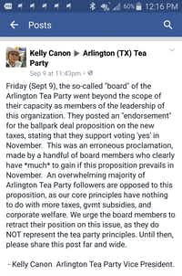 Kelly Canon posted this on Facebook after the Arlington Tea Party's board of directors voted in support of building a new Rangers stadium with taxpayer dollars.(Image courtesy of Kelly Cannon)
