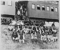 Apaches, en route to their imprisonment in Florida, are shown in this 1886 photo. Geronimo is third from right in front row. The Apaches spent up to 28 years as prisoners of war and were never allowed back on their ancestral lands. The descendants of the Chiricahua POWs now live on the Mescalero Apache reservation in New Mexico and in Fort Sill, Okla.(ASSOCIATED PRESS)