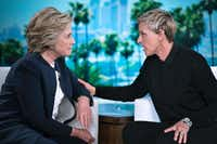 <p>Democratic presidential candidate Hillary Clinton chatted with Ellen Degeneres during a commercial break at Thursday's taping of <i>The Ellen Show</i> in Burbank, Calif. Several new polls have shown a gender gap emerging among Hispanic voters: Women vote more and are moving strongly in Clinton's direction. (Brendan Smialowski/Agence France-Presse)</p>