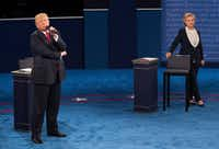 Clinton and Trump during the second presidential debate. (Doug Mills/The New York Times)