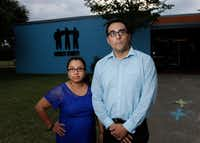 SMU law students and West Dallas residents Laura and Jake Torres say the threat of mass evictions among their neighbors inspired them to push to get tenants help. A clinic was set up at nonprofit Mercy Street Mission on Thursday. (Ben Torres/Special Contributor)