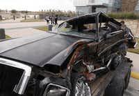 """<p><span style=""""font-size: 1em; background-color: transparent;"""">This car crushed in a drunken driving wreck was on display in a joint Dallas County & Tarrant County DWI Press Conference in November 2014.</span></p>(File photo)"""
