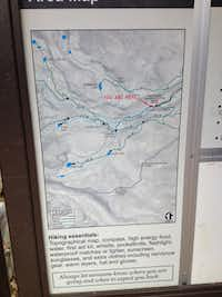 The topographic map at the trail head where Charlie started out that early Monday.(Charlie Garcia)