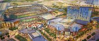 An artist rendering shows plans for a new Texas Rangers baseball stadium and the planned Texas Live! entertainment development. (Source: Populous)(Source: Populous)