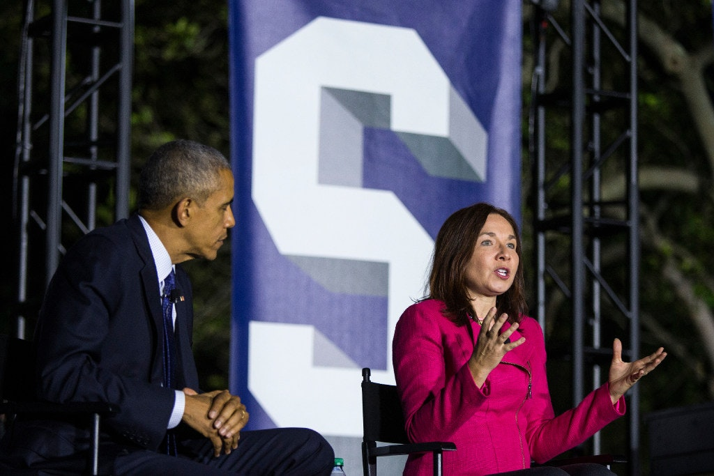 """<p>At a recent White House event with President Barack Obama, Texas Tech climate scientist Katharine Hayhoe touted Texas' wind power: """"Here's the cool thing about Texas. Did you know that already Texas is getting 10 percent of its electricity from wind?"""" (Al Drago/The New York Times)</p><p><br></p>"""