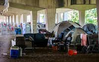 Tents are set up in a homeless encampment under Interstate 30 at Haskell Avenue on Thursday, September 8, 2016 at in Dallas.  (Ashley Landis/The Dallas Morning News)(Staff Photographer)