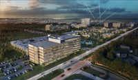 The first Frisco Station office building will be next door to the Dallas Cowboys' new headquarters and practice facility on Warren Parkway west of the Dallas North Tollway. (HKS)<div><br></div>