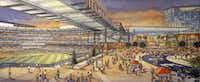 "An artist rendering shows the outfield plaza of a new retractable roof ballpark (left) that flows into a new entertainment venue (right)<span style=""background-color: transparent; font-size: 0.6875rem;"">.</span>(Source: Populous)"