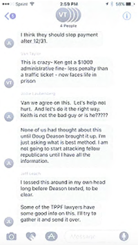 <br>(Text messages from the week of Oct. 10, 2016, turned over by Rep. Matt Shaheen, R-Plano.)