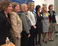 <p>Former Texas state Sen. Wendy Davis (second from right) appeared Thursday in Loudoun Co., Va., with former Arizona congresswoman Gabby Giffords in a push for gun law reform and for candidates who support those measures. From left to right: Pia Carusone, head of Americans for Responsible Solutions; Jessica O'Connell, executive director of Emily's List; Virginia state Delegate Kathleen Murphy; Giffords; LuAnn Bennett, Democratic candidate for a Virginia congressional seat; Davis; and Lori Haas, Virginia state director for the Coalition to Stop Gun Violence.</p>(Katie Leslie/Staff)