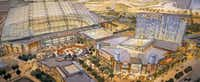 An artist rendering shows the new retractable roof ballpark (left) and Texas LIVE! entertainment venue and hotel. Arlington voters will go the polls on Nov. 8 to decide whether or not to extend an existing sales tax and other taxes to build a new stadium for the Texas Rangers.(Illustration courtesy of POPULOUS)