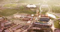 A 2007 illustration of the planned Gloypark development next to the Texas Rangers ballpark. That $500 million project never got off the ground.((Glorypark))