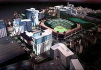 Plans for development adjacent to the Texas Rangers ballpark circa 2000. That development never occurred.((Southwest Sports Group))