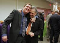 Ryan Evans said his farewells to then-city manager Ted Benavides on Oct. 26, 2004.((File Photo))