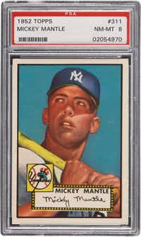 A high grade 1952 Topps Mickey Mantle rookie card.(AP)