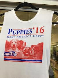 Studio 6 Fitness has twice sold out of this T-shirt by puppiesmakemehappy.com(Photo: Elizabeth Lindberg)