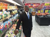 Former Dallas City Council member Tennell Atkins stands in the new Save-A-Lot grocery store at 3450 Simpson Stuart Road. Atkins helped get city funding to build the store when he was on the council. (Tristan Hallman/Staff).