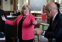 State Sen. Jane Nelson, R-Flower Mound, chair of the Finance Committee, celebrated after a state budget bill was passed by the Senate in April 2015. (File Photo/Austin American-Statesman)