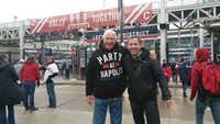 Tony Jacobs (right) of Topps Confectionery Brands and Darwin Day of Grand Prairie hang out before Game 2 of the World Series pitting Cleveland against the Chicago Cubs on Wednesday. ((Gideon Anstey))