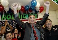 In this file photo, former Democratic Rep. Ciro Rodriguez celebrates after winning a runoff election in the 23rd Congressional District in  San Antonio on Dec. 12, 2006. Rodriguez defeated Rep. Henry Bonilla, a San Antonio Republican, for the seat and would hold it for four years. (Eric Gay/Associated Press)