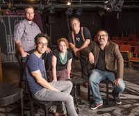 From front left: Blake Hackler, the director of <i>10 out of 12</i>; Michelle Foster, the stage manager of <i>10 out of 12;</i>and John Flores, a sound designer for upcoming shows at Kitchen Dog Theater and Dallas Theater Center, back Bradley Gray, technical director for WaterTower Theatre and Ken Bernstein, technical director for <i>10 out of 12</i> and for the Undermain Theatre in Dallas.((Ron Heflin/Special Contributor))
