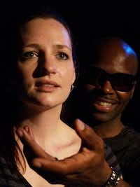 Agorophobic and Valium-addicted Harper Pitt (Jessica Cavanagh) dreams up an imaginary friend, Mr. Lies (Cedric Neal)in Risk Theater Initiative's 'Angels in Americ(Chris Devaney)