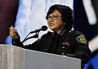 "<p>Dallas County Sheriff Lupe Valdez, speaking at the Democratic National Convention in July, says, ""<span style=""font-size: 1em; background-color: transparent;"">We strive for a record of no escapes. However, as we strive for perfection, errors will still be made."" (</span><span style=""font-size: 1em; background-color: transparent;"">G.J. McCarthy/Staff Photographer)</span></p>"