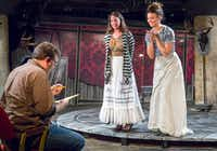 In a scene from <i>10 out of 12</i>, Thomas Ward left plays the director giving notes to Shannon Kearns and Kelsey Milbourn, who are playing actresses, at the Undermain Theatre in Dallas.((Ron Heflin/Special Contributor))