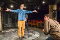 Paul Taylor (left) plays an actor in a technical rehearsal, and Thomas Ward plays the director in a scene from <i>10 out of 12</i>, Anne Washburn's play about a technical rehearsal, at the Undermain Theatre in Dallas.((Ron Heflin/Special Contributor))