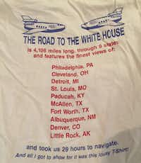The back of the t-shirt shows the route the Clinton-Gore campaign took during its final 48 hours.Josh King