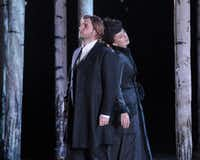 "Love rekindled but denied: Andrei Bondarenko as Eugene Onegin and Svetlana Aksenova as Tatyana, in dress rehearsal for the Dallas Opera's ""Eugene Onegin."".(Karen Almond, Dallas Opera)"