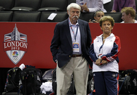 <p>Bela and Martha Karolyi watched gymnasts warm up before the first round of the Women's Olympic Trials in 2012 in San Jose, Calif.</p>(<p>File Photo/Vernon Bryant<br></p><p></p>)