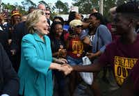 Democratic presidential nominee Hillary Clinton greeted fans at a tailgate party for the Bethune-Cookman University homecoming game against Delaware State.(Jewel SamadAFP/Getty Images<div><br></div>)