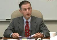 Texas Department of Public Safety forensic scientist Chris Youngkin answers questions during a deposition on Oct. 24, 2016, at the Collin County Courthouse in McKinney about his previous testimony regarding a 2013 lab error.(Law Offices of Biederman and Burleson)