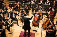 """Conductor Paul Philips conducts student members of the Meadows Symphony Orchestra performing the world premiere of """"Ghost Boxes"""" by composer Lane Harder at Caruth Auditorium, Owen Arts Center on Oct. 30, 2016 in Dallas. (Ting Shen/The Dallas Morning News)(Staff Photographer)"""
