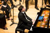 """Pianist Alessandro Mazzamuto performs """"Piano Concerto No. 2 in F minor, Op. 2"""" by Frederic Chopin, with the Meadows Symphony Orchestra at Caruth Auditorium, Owen Arts Center on Oct. 30, 2016 in Dallas. (Ting Shen/The Dallas Morning News)(Staff Photographer)"""