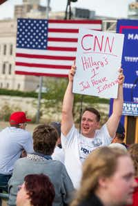 Last weekend, Travis Klinefelter of Dubuque, Iowa, showed a common theme for signs and chants at Trump rallies: That Hillary Clinton should be imprisoned.((David Greedy/Getty Images))