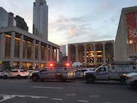 Police responded to New York's Metropolitan Opera, which halted a performance after someone sprinkled an unknown powder into the orchestra pit on Saturday. Met spokesman Sam Neuman said the afternoon's performance of <i>Guillaume Tell</i> was canceled during the second intermission after the person sprinkled the powder into the pit from the orchestra section. (Dylan Hayden/The Associated Press)