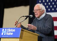 Sen. Bernie Sanders, an independent from Vermont, campaigned for Democratic presidential candidate Hillary Clinton on Tuesday at Plymouth State University in Plymouth, N.H. (Jim Cole/The Associated Press)